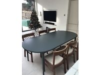 grey wooden extending dining table
