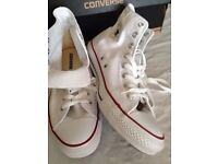 BRAND NEW IN THE BOX OPTICAL WHITE CONVERSE Unisex High Top Sneakers. Men size 9, Women size 11.
