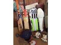 Good condition cricket set (bats, helmet, pads, bag etc ) for a child aged up to 12.