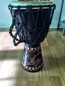 Awesome Hand Drum with Strap and Dolphin Carvings