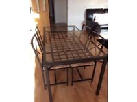 IKEA GRANAS Black/Glass Table & 4 Chairs