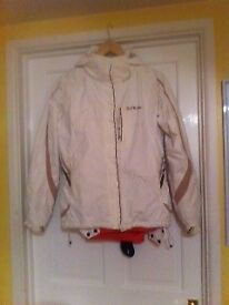 Ski wear, ladies or young adults size 10, White jacket and peach/ pale orange salopettes