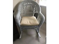 Beautiful White Wicker Rocking Chair