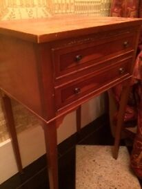 Regency style walnut veneered two drawer Bedside Table with inlay £20