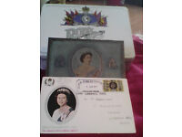 0ne 1977 royal silver jubliee tin also with envelope and stamps and 1953 wills cap sign tin