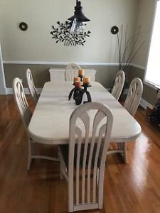 Dining table with chairs and hutch