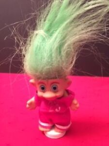 """Small 3 """" troll Pink clothes Green Hair"""
