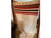 Next cream curtains with red and brown stripe, silver eyelets, lined 135cm x 229cm (2 pairs)