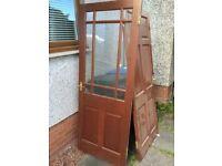 8 handwood 6 panel Mahogany doors,1 of them half glass 760x1980 £100 the lot