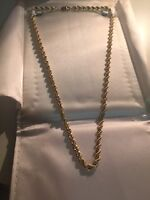 22'' 4MM 10K GOLD HALLOW ROPE NECKLACE MENS/LADIES