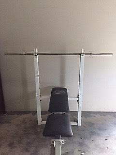 Gym bench and free weight straight bar