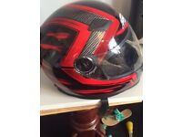 SHOX BLACK AND RED M BIKE HELMET AND S GLOVES **COLLECTION ONLY**