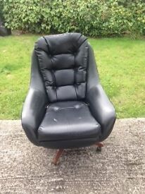 Retro 60's Sofa Black. 2 armchairs, 3 seater and foot stool