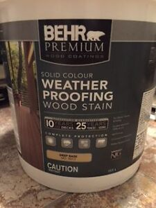 BEHR PREMIUM WEATHER PROOFING WOOD STAIN (RUSSET) COLOUR!