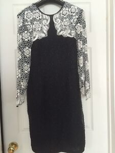 Beautiful Black & White Beaded Dress