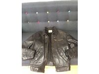 "Vintage 1980's Levi Black Leather Highwayman Jacket Size M (38"" chest). Made In Italy"