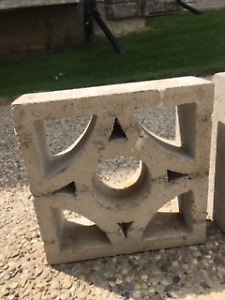 Vintage Concrete Garden Wall Blocks (4 in total)