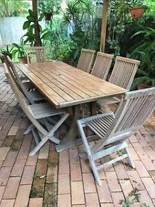 Teak outdoor setting - table and 8 chairs The Gap Brisbane North West Preview