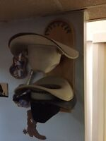 Cowboy hats and pine hat rack