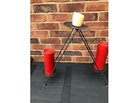 Unusual floor or table standing folding Metal Candle holder