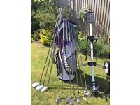 Complete set of ladies golf clubs inc bag and trolly