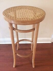 Beautifully restored, vintage Bentwood beech bergere cane stool / plant stand / table.