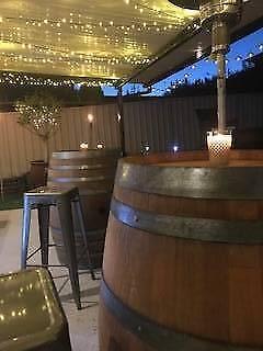 Wine Barrels & Bar Stools for Hire