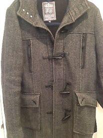 Mans Grey Wool Coat - River Island Size S
