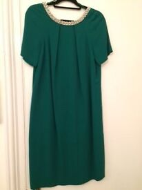 Monsoon dress. Emarald green with pearl and diamante detail. Size 10