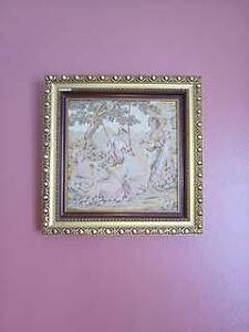 "12"" x 12"" vintage embroidery picture in golden wooden frame"