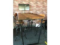 Handmade table and 6 high stools