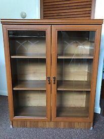 2 Door Glass & Wood Effect Display Cabinet