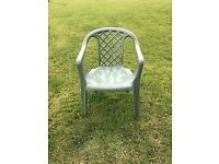 Garden chairs green and stackable