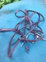 Leather English bridle for sale with snaffle bit.