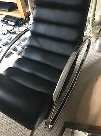 Reclining Rocking Armchair - ripple padding - chrome