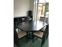 Dining Room Table & 6 Chairs. Black Ash. Original purchase from Peter Carlson, with 2 extensions