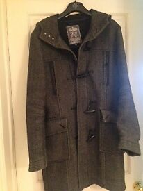 Mens fine quality dark grey wool coat size small