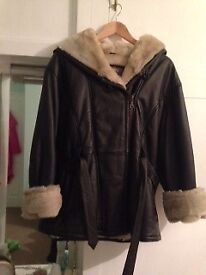 Long real leather belted jacket - fake fur inside & hood