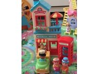 Happyland Tea room, van, phone box, delivery driver, customer and shop keeper