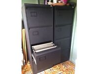 2 GREAT CONDITION BLACK METAL FILING CABINETS FROM STAPLES