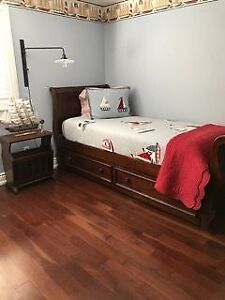 Ethan Allen Trundle Bed with matching Bedside Table