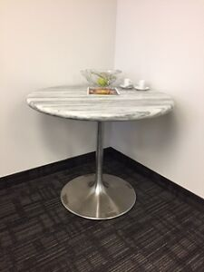 White Marble Bistro Table w/ Chairs