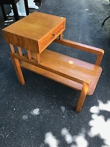1950s Blond Wood Sofa End Tables