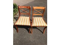 Pair of YEW Reproduction dining room chairs, good condition, seats as new