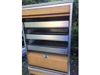 Two open fronted storage cabinets, used, 50cmx50cmx70cm high. Pull out drawers, metal and wood.