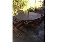 Teak patio set, table and 4 chairs