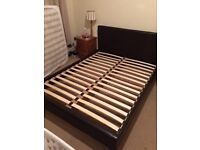 Kingsize bed frame brown faux leather