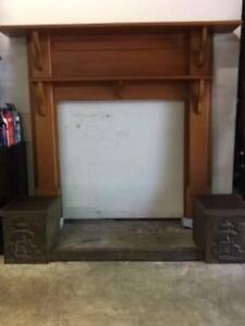 FIREPLACE SURROUND WITH WOOD BUCKETS Denistone East Ryde Area Preview