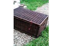 """WICKER CHEST / TRUNK / COFFEE TABLE / STORAGE - 42"""" x 22"""" + 15"""" height * CLACTON CO15 6A"""
