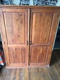 Heavy wooden hidden office cupboard